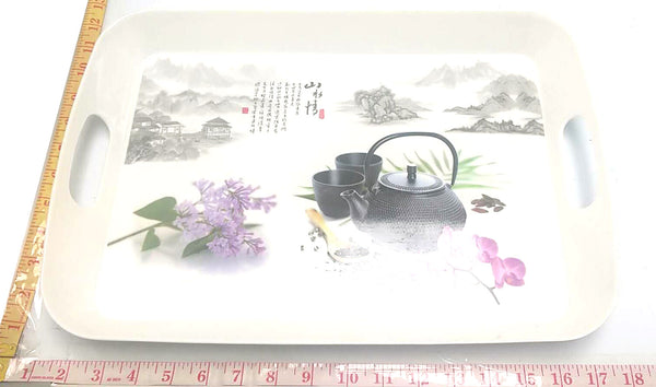 PLASTIC FOOD TRAY WITH HOLDERS+CHINESE DESIGN $3.99