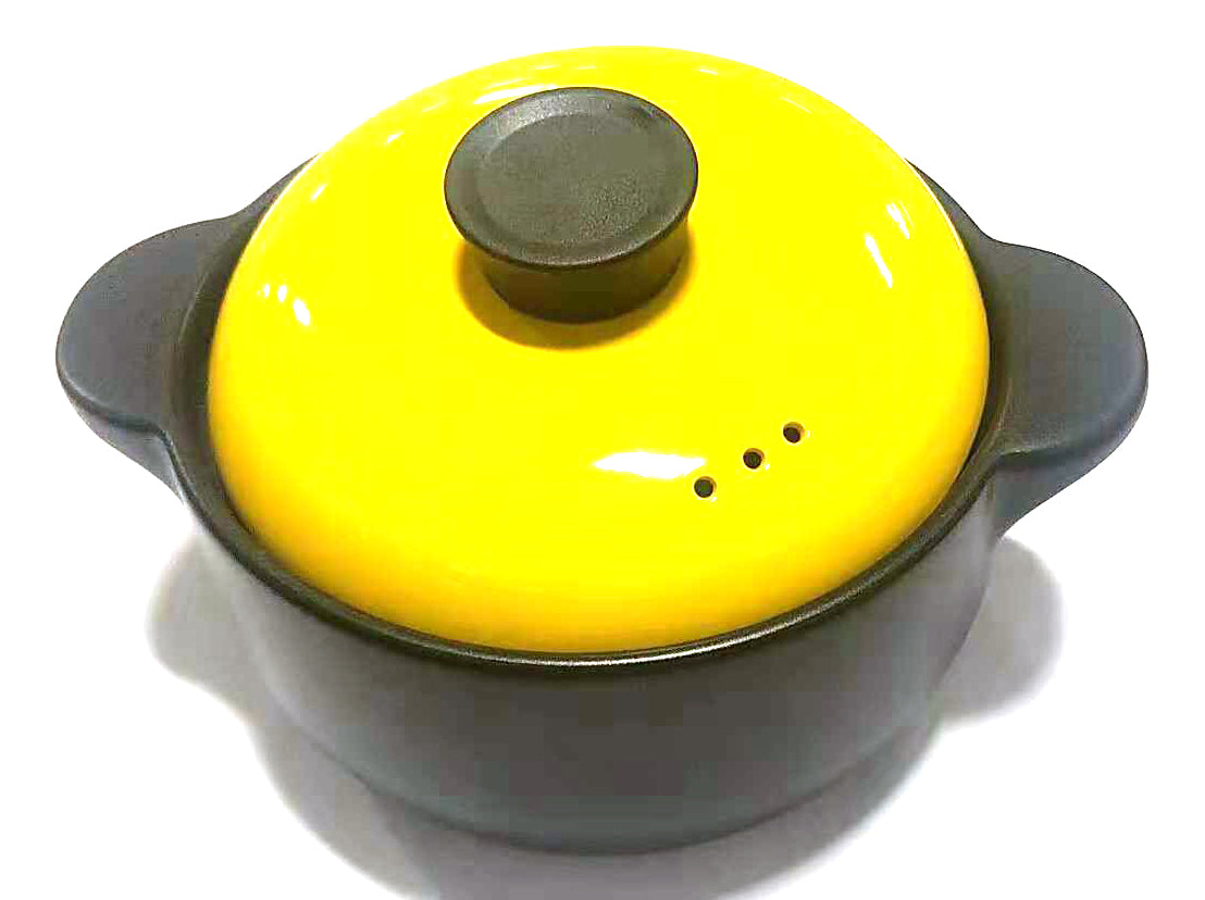 "BIG YELLOW STEW POT PORCELAIN WITH LID (THREE AIR HOLES) 8"" $9.5 - Home Idol Home Improvement Outlet"