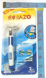 4511 DOUBLE BLADE RAZOR SHAVER WITH 1 EXTRA BLADE BAZO $2.75 - Home Idol Home Improvement Outlet