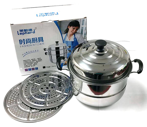"BIG STEAMER (WITH 2 STEAM PLATES+LID+2 HANDLES) STAINLESS STEEL LEPHARD 28CM=11"" $9.5 - Home Idol Home Improvement Outlet"