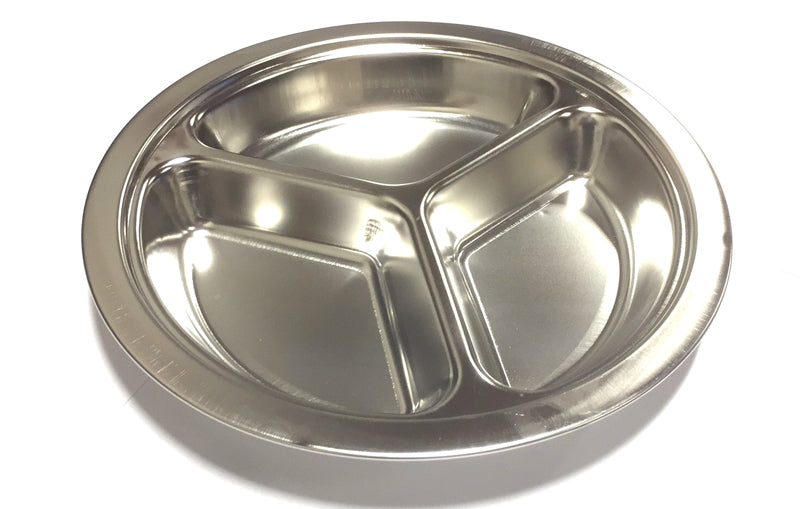 "ROUND DIVIDED PLATE (3 PORTIONS) STAINLESS STEEL 23CM=6"" $2.75 - Home Idol Home Improvement Outlet"