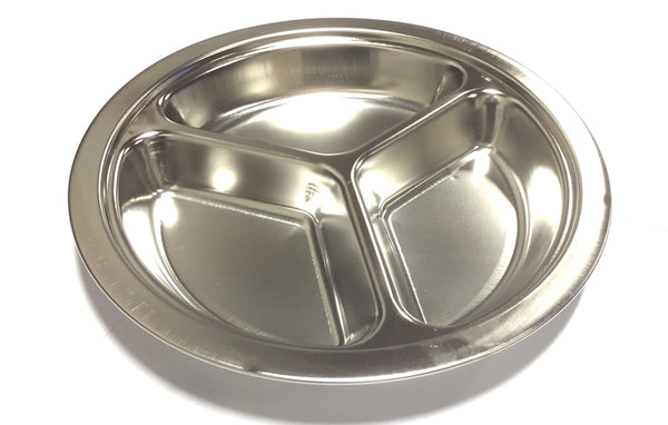 "ROUND DIVIDED PLATE (3 PORTIONS) STAINLESS STEEL 23CM=6"" $2.75 - Home Idol Vancouver"