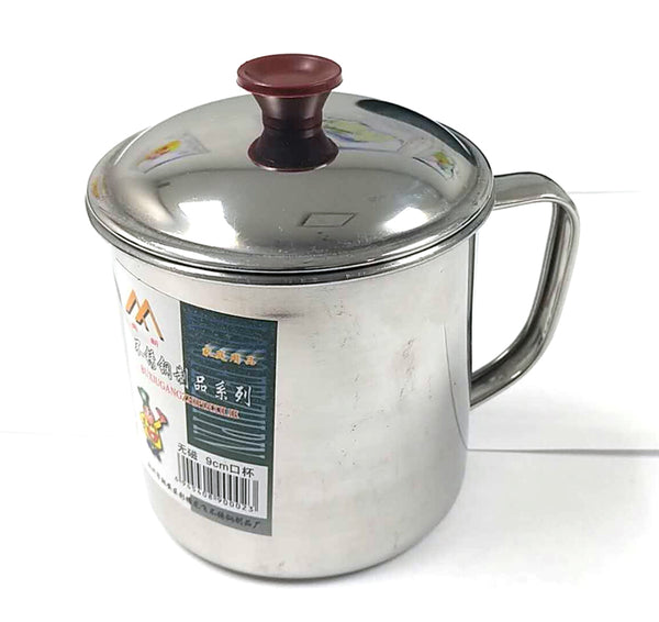 9CM STAINLESS STEEL CUP WITH LID MEIXIN $2 - Home Idol Vancouver