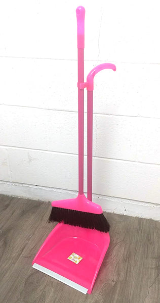 "8809 BRUSH BROOM+GARBAGE SHOVEL COMBO WITH WOOD HANDLES PINK/BLUE 32"" $3.99 - Home Idol Vancouver"