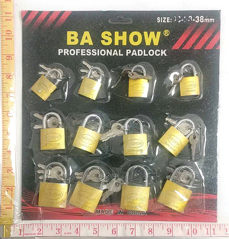 BA SHOW PROFESSIONAL PADLOCK WITH 3 KEYS GOLD 12PC/PACK $1.25/PC