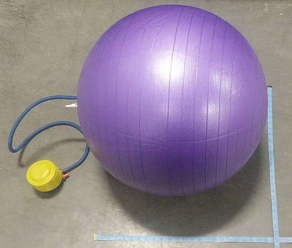 "YOGA BALL WITH AIR PUMP 27.5"" $9.5"
