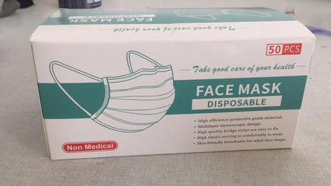 DISPOSAL 3-LAYER FACE MASK 50PCS/BOX $4.99/BOX