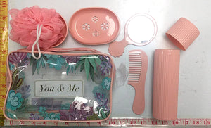 TRAVEL BATHING SET 5PC COMBO (COMB+MIRROR+BATH CAP+TOWEL HOLDER+SOAP CASE) YOU & ME $2.75 - Home Idol Home Improvement Outlet