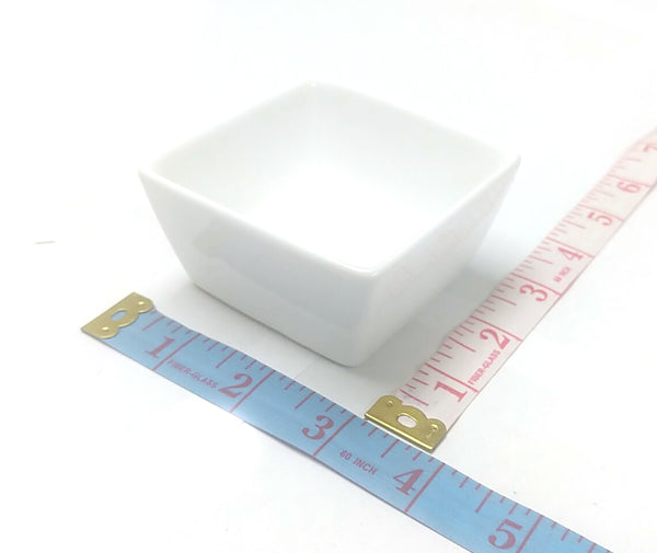 "SMALL PORCELAIN PUDDING CUP SQUARE 3""X3"""