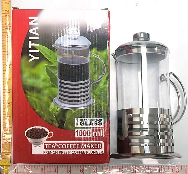 TEA & COFFEE MAKER GLASS POT WITH LID+STRAINER 1000ML YITIAN $9.5