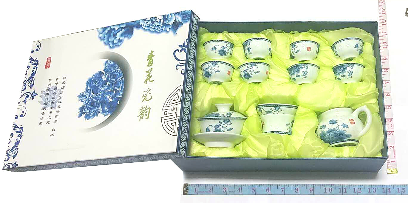 BLUE AND WHITE PORCELAIN TEA SET (8 SMALL TEA CUPS+2 BIG TEA CUPS+TEA POT) $9.5 - Home Idol Home Improvement Outlet