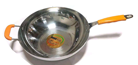 "BIG NON STICK FRY WOK (3 STEEL LAYERS) STAINLESS STEEL PENG ZHILE 32CM=12"" $9.5 - Home Idol Vancouver"