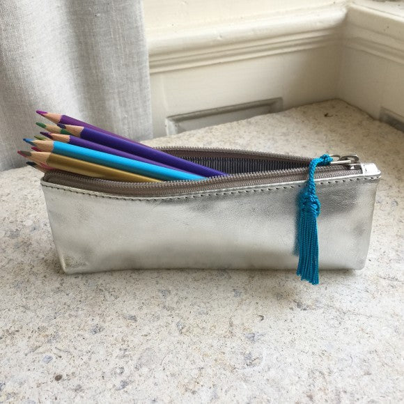Metallic Leather Pencil Case with Tassel - Alessandra Handmade Creations