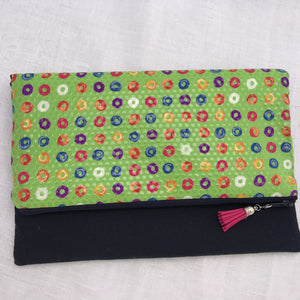 Pure Silk & Linen Clutch Bag - Green/Navy - Alessandra Handmade Creations