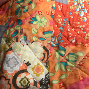 "The Orange ""Drunkard Path"" Wall Hanging Quilt - Alessandra Handmade Creations"