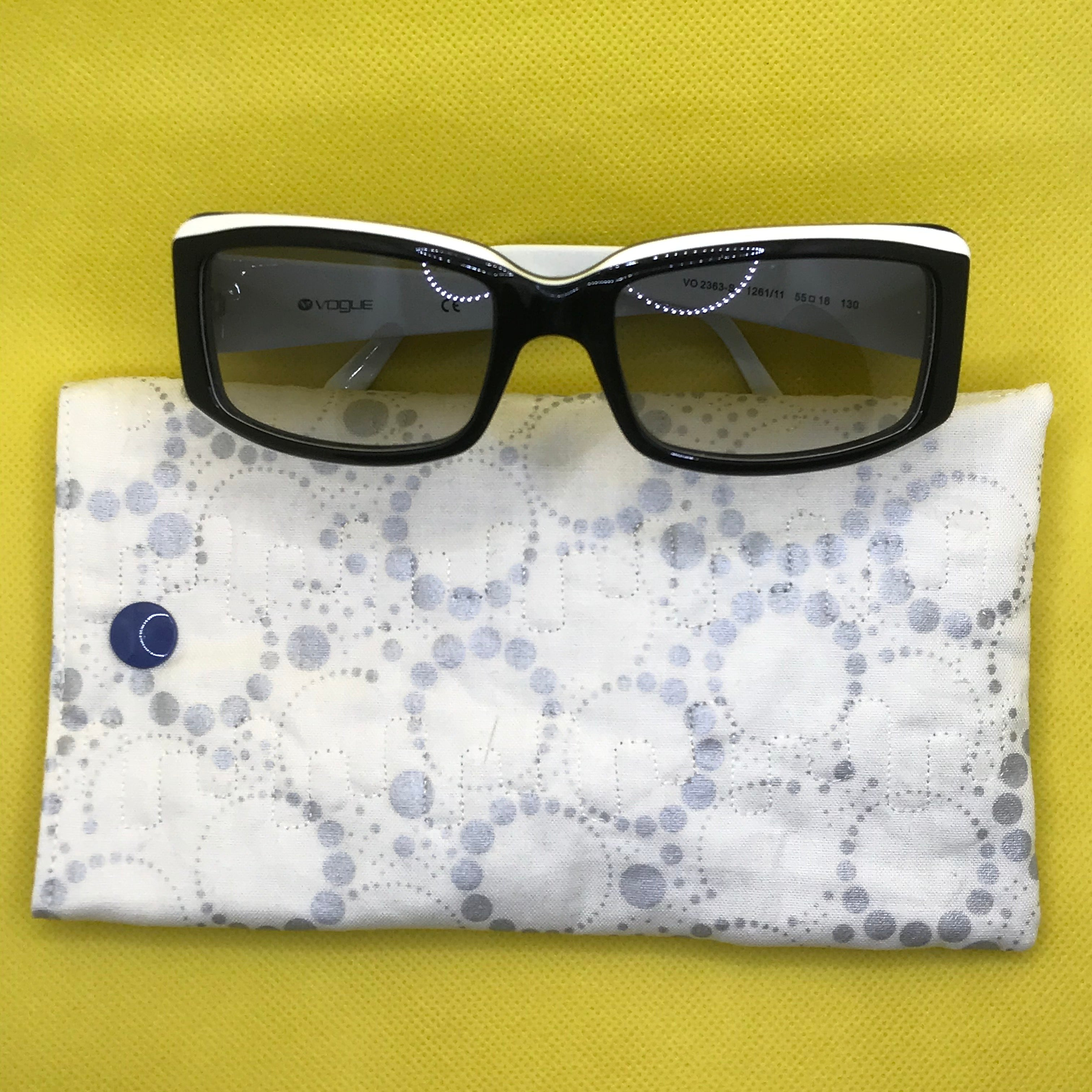 Fabric Sunglasses Quilted Pouch - Moonlight Silver Orbits