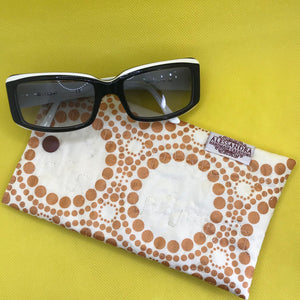 Fabric Sunglasses Quilted Pouch - Moonlight Copper Orbits
