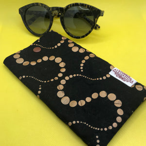 Fabric Sunglasses Quilted Pouch - Midnight Copper Orbits