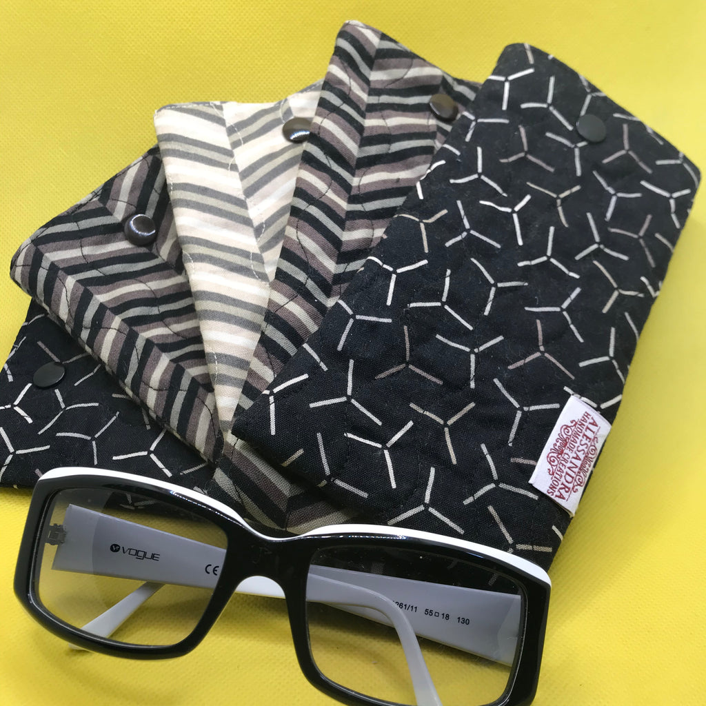 Fabric Sunglasses Quilted Pouch - Chevrons & WindMills