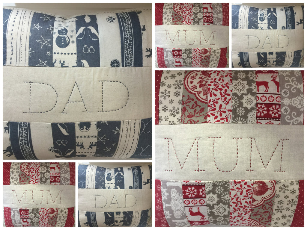 Scandi Christmas Patchwork Cushions - Alessandra Handmade Creations
