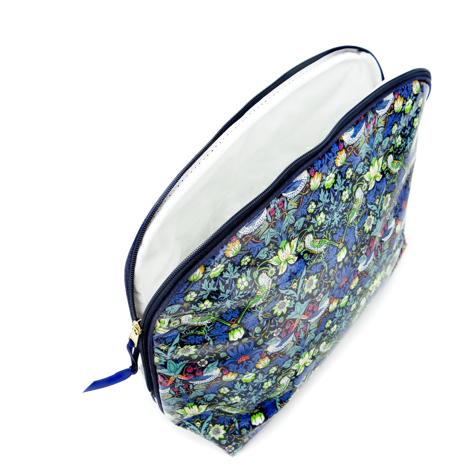 Large Round Top Wash Bag Strawberry Thief Blue - Alessandra Handmade Creations