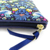 Medium Flat Purse Strawberry Thief Blue - Alessandra Handmade Creations