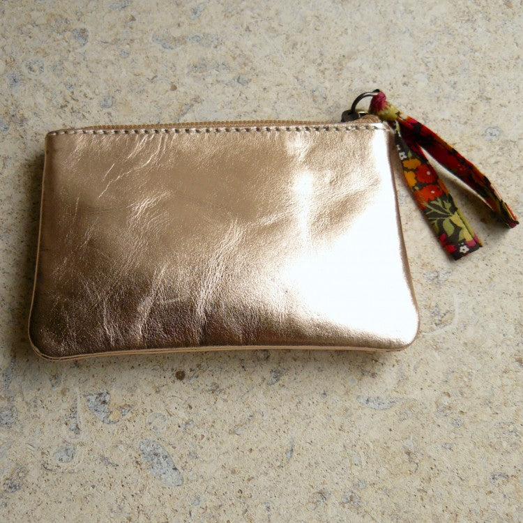Metallic Leather Purse with Liberty fabric pull - Alessandra Handmade Creations