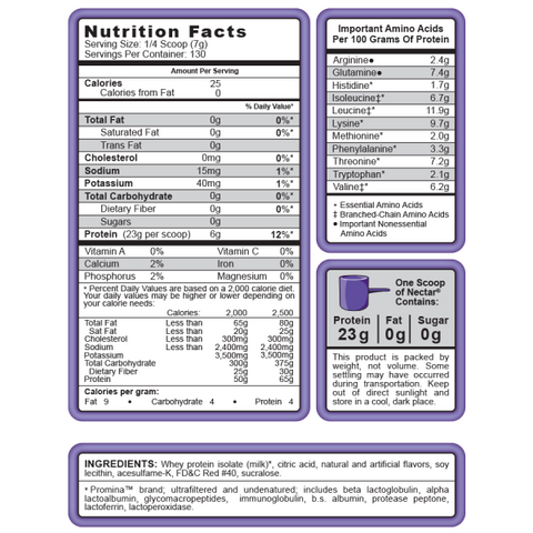Nectar bariatric protein shake nutritional information.