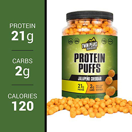 Jalapeno cheddar protein puffs, 21 grams.