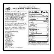 Protein puffs nutrition label.