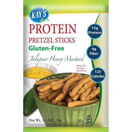 Kay's Naturals Gluten-Free Protein Pretzel Sticks, Jalapeno Honey Mustard, (Pack of 6)