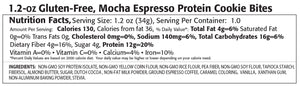 Mocha espresso cookie bite protein nutrition label.