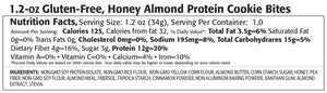 Honey Almond protein cookie bites nutrition label.