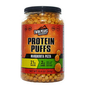 Margherita pizza flavored protein puffs.