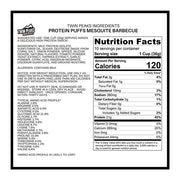 Protein puff nutrition label.
