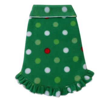 Christmas Dots Ruffled Dog Pullover - Green
