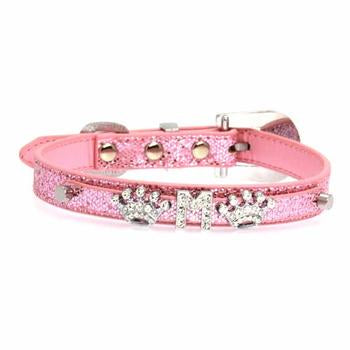Foxy Glitz Dog Collar with Letter Strap by Cha-Cha Couture - Pink