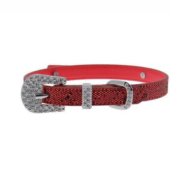 Foxy Glitz Dog Collar with Letter Strap by Cha-Cha Couture - Red