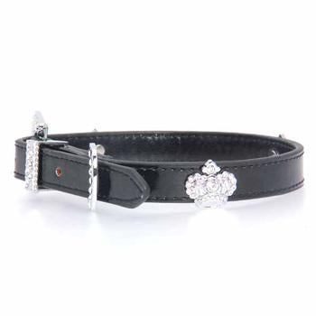 Crown Bling Dog Collar by Cha-Cha Couture - Black