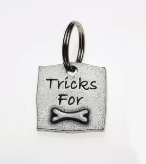 Pewter Dog Collar Charm or Cat Collar Charm: Tricks For Bones