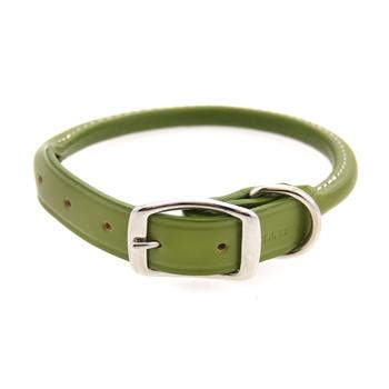 Round Leather Dog Collar by Auburn Leather - Green