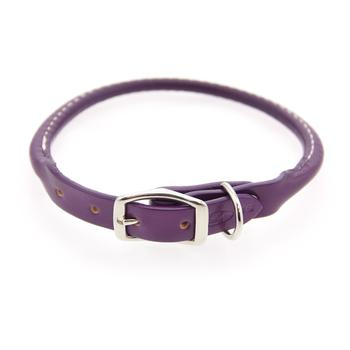 Round Leather Dog Collar by Auburn Leather - Purple