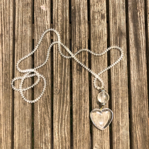 Long clear beaded necklace with heart