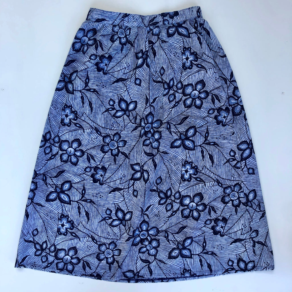 Blue floral cotton skirt