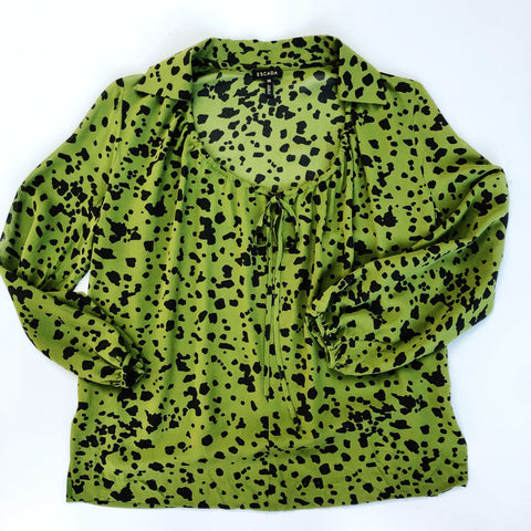Escada green and black silk blouse