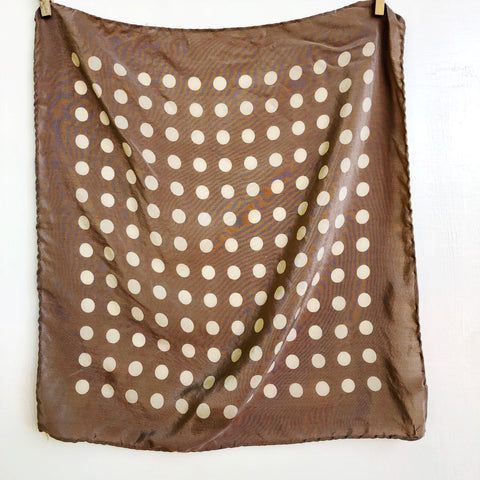 Beige polka dot silk pocket square