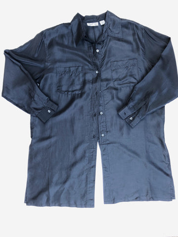 Large black silk button down
