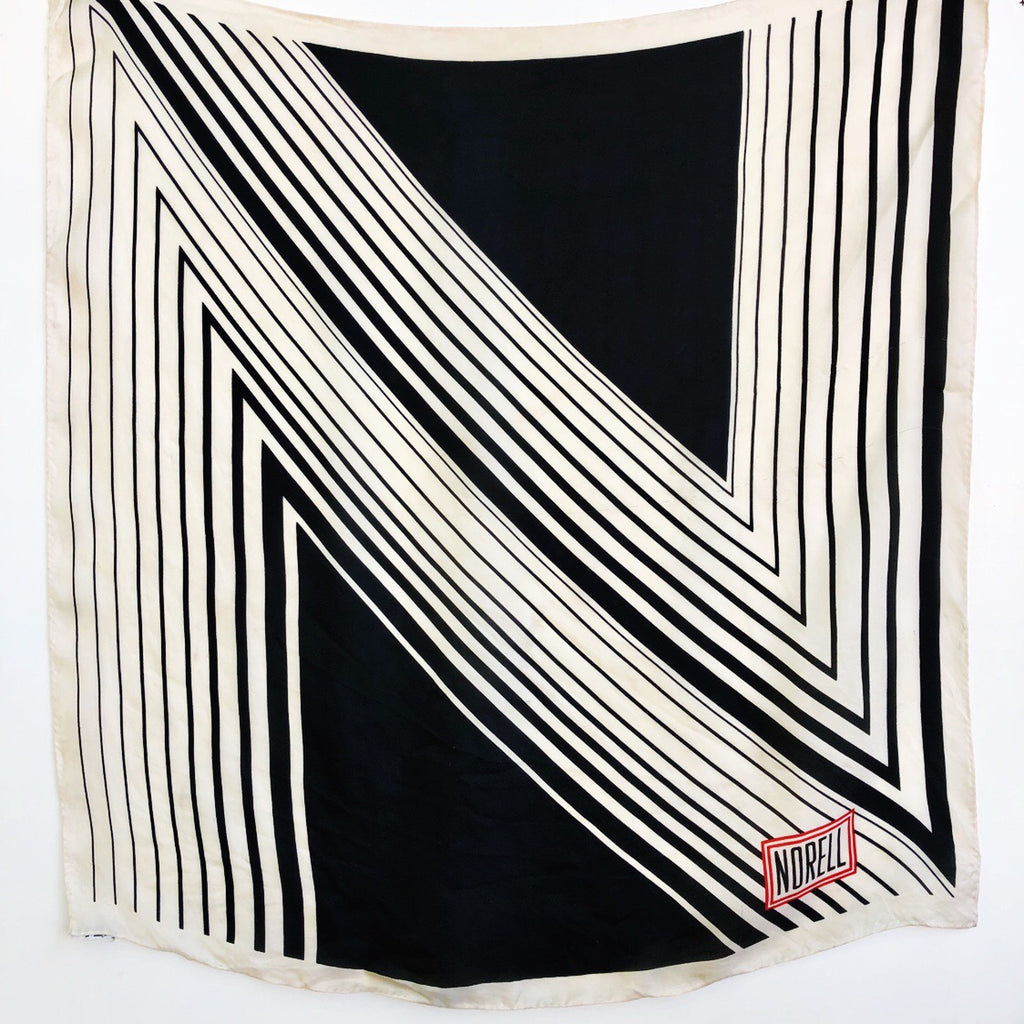Norell black and white 'N' silk scarf