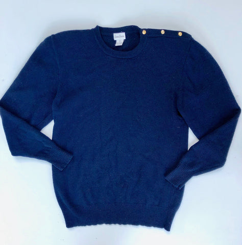 Neiman Marcus navy blue angora sweater