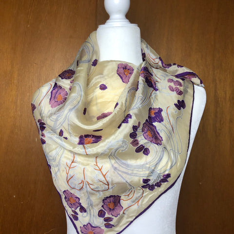 Oscar de la Renta purple and nude floral silk scarf